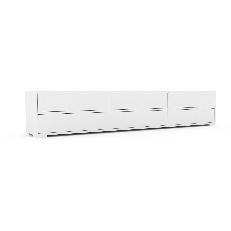 MYCS Buffet bas - Blanc, modèle tendance, rangements bas sophistiqué, avec tiroir Blanc - 226 x 43 x 35 cm, modulable