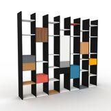 MYCS Bibliothèque - noir, design contemporain, avec porte noyer et tiroir anthracite - 272 x 233 x 35 cm