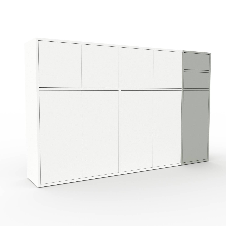 MYCS Enfilade - Blanc, design, buffet, avec porte Blanc et tiroir Gris sable - 190 x 118 x 35 cm