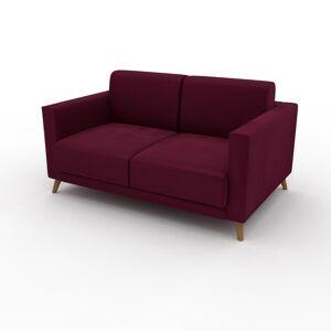 MYCS Canapé Velours - Rouge Mûre, modèle épuré, canapé pour salon, en tissu avec pieds personnalisables - 145 x 75 x 98 cm, modulable - Publicité