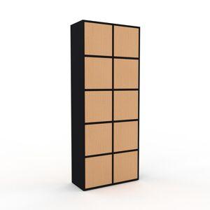 MYCS Meuble de rangements - Noir, moderne, pour documents, avec porte Hêtre - 79 x 195 x 35 cm, personnalisable - Publicité