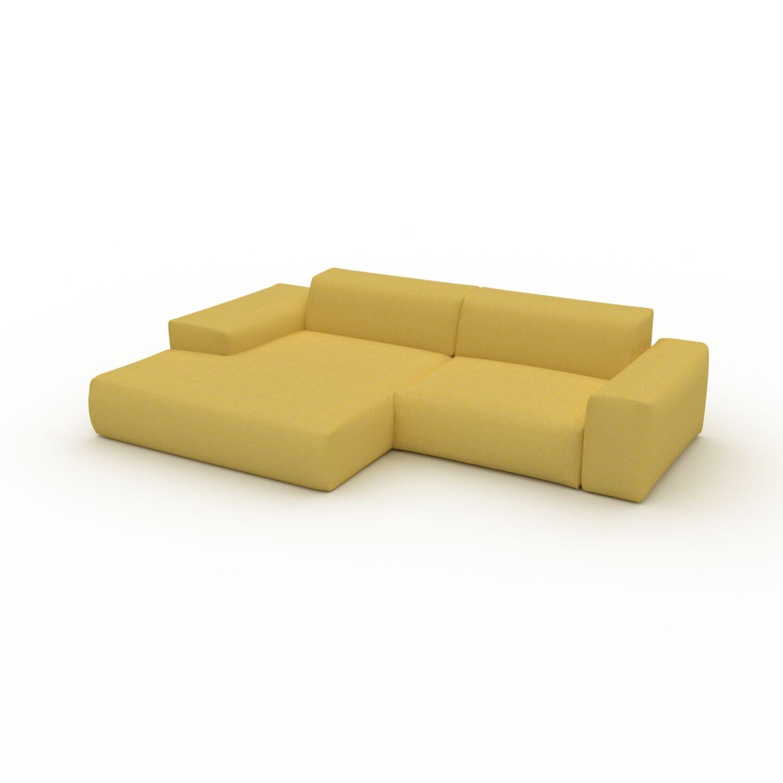 MYCS Canapé d'angle - Jaune Moutarde, design arrondi, canapé en L ou angle, confortable avec méridienne ou coin - 282 x 72 x 168 cm, modulable