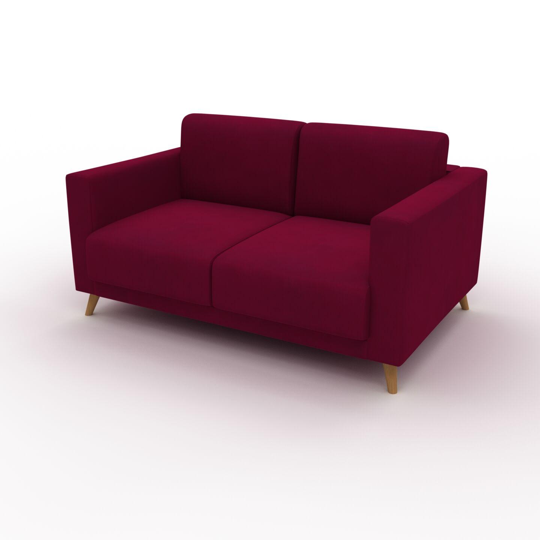 MYCS Canapé Velours - Rouge Mûre, modèle épuré, canapé pour salon, en tissu avec pieds personnalisables - 145 x 75 x 98 cm, modulable