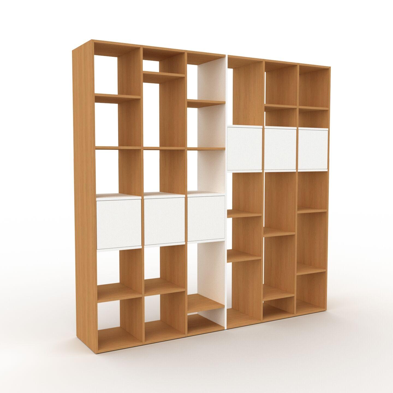 MYCS Bibliothèque - chêne, pièce de caractère, rangements raffiné, avec porte blanc - 233 x 233 x 47 cm, configurable