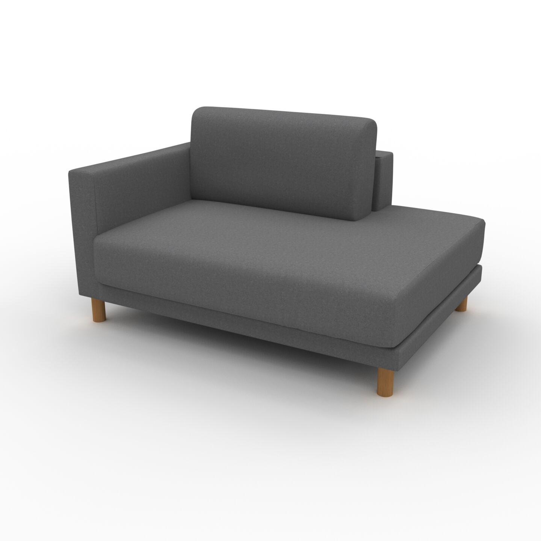 MYCS Fauteuil - Gris Pierre, modèle épuré, grand fauteuil en tissu avec pieds personnalisables - 132 x 75 x 98 cm, modulable
