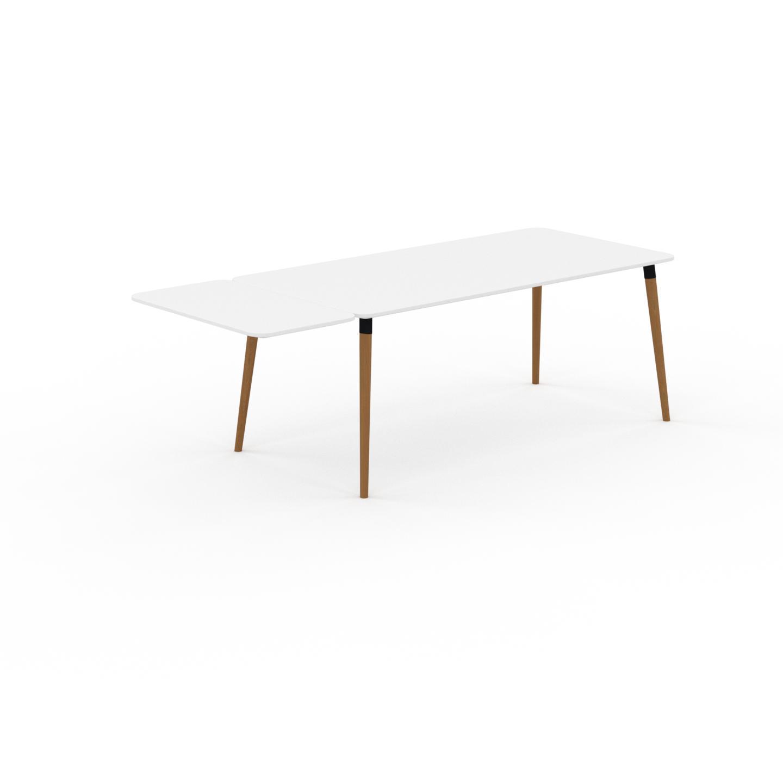 MYCS Table à manger - Blanc, design scandinave, pour salle à manger ou cuisine nordique, table extensible à rallonge - 230 x 75 x 90 cm