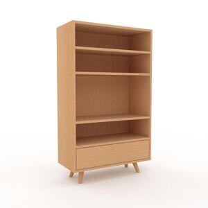 MYCS Bibliothèque - Hêtre, modèle tendance, rangements pour livres, avec tiroir Hêtre - 77 x 130 x 35 cm, modulable - Publicité