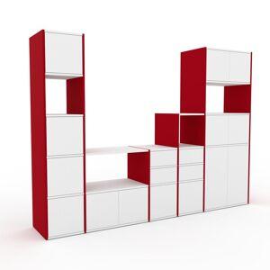 MYCS Meuble TV - Rouge, design, meuble hifi, multimedia, avec porte Blanc et tiroir Blanc - 267 x 195 x 47 cm - Publicité