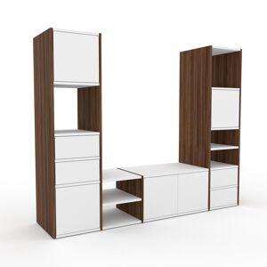 MYCS Meuble TV - Noyer, design, meuble hifi, multimedia, avec porte Blanc et tiroir Blanc - 193 x 157 x 47 cm - Publicité