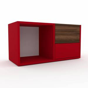 MYCS Table de chevet - Rouge, contemporaine, table de nuit, avec tiroir Rouge - 79 x 41 x 35 cm, modulable - Publicité