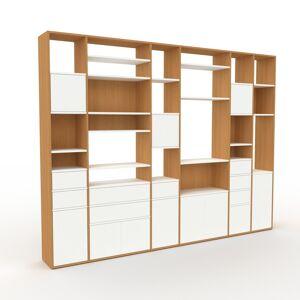 MYCS Bibliothèque murale - Blanc, combinable, étagère, avec porte Blanc et tiroir Blanc - 306 x 233 x 35 cm
