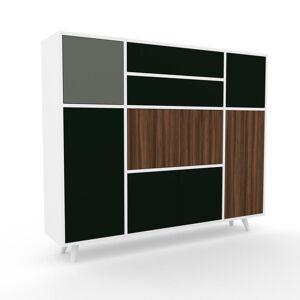 MYCS Enfilade - Blanc, design, buffet, avec porte Vert sapin et tiroir Vert sapin - 154 x 130 x 35 cm - Publicité