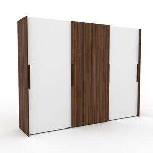 MYCS Dressing - Blanc/Noyer, design, armoire penderie pour chambre ou entrée, haut de gamme, avec portes coulissantes - 304 x 233 x 65 cm, modulable - Publicité