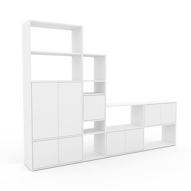 MYCS Placard - Blanc, contemporain, rangements, avec porte Blanc - 265 x 195 x 35 cm, modulable