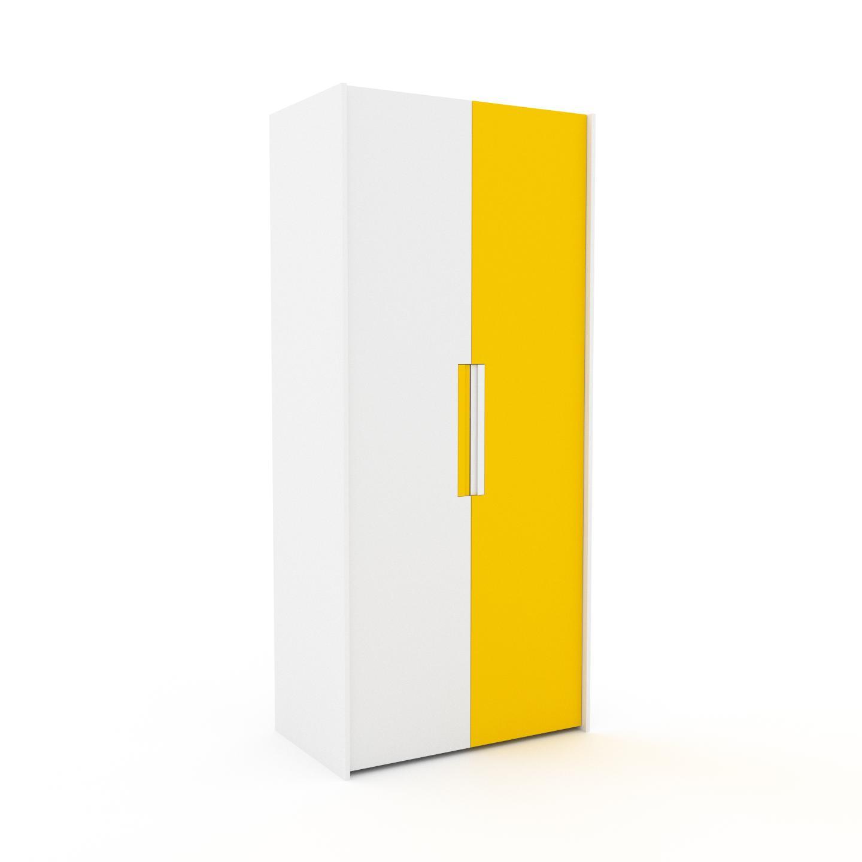 MYCS Dressing - Blanc/Jaune, design, armoire penderie pour chambre ou entrée, à portes battantes - 104 x 233 x 62 cm, modulable