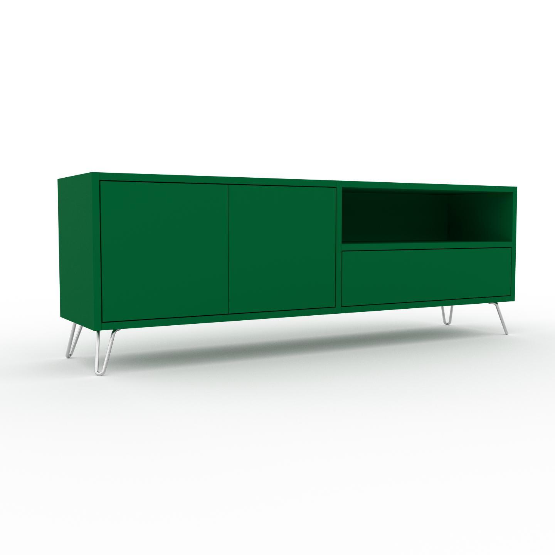 MYCS Buffet bas - Vert bouteille, design contemporain, avec porte Vert bouteille et tiroir Vert bouteille - 152 x 53 x 35 cm
