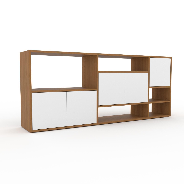 MYCS Placard - Chêne, contemporain, rangements, avec porte Blanc - 190 x 80 x 35 cm, modulable