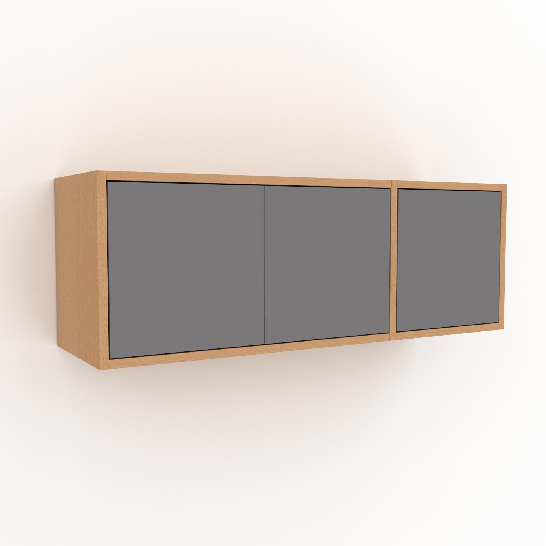 MYCS Étagère murale - Gris, modèle moderne, placard, avec porte Gris - 116 x 41 x 35 cm, modulable