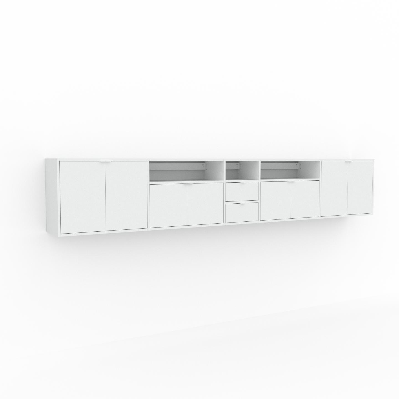 MYCS Étagère murale - Blanc, combinable, placard, avec porte Blanc et tiroir Blanc - 339 x 61 x 35 cm