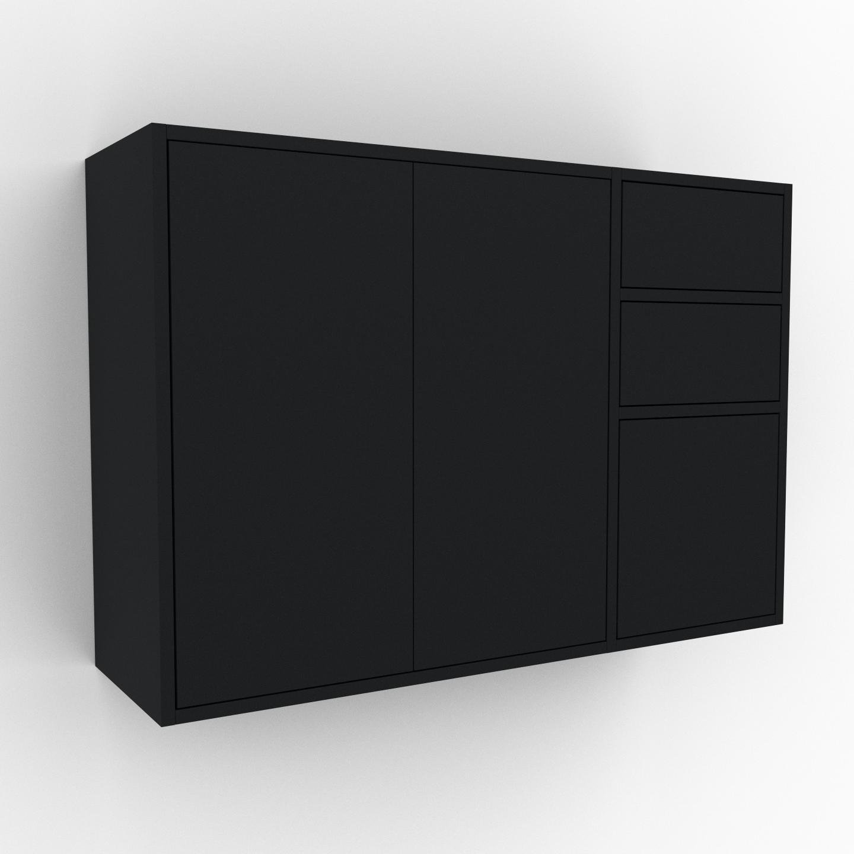 MYCS Étagère murale - Noir, combinable, placard, avec porte Noir et tiroir Noir - 116 x 80 x 35 cm