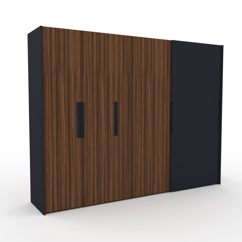 MYCS Dressing - Noyer/Anthracite, design, armoire penderie pour chambre ou entrée, haut de gamme, avec portes coulissantes - 304 x 233 x 65 cm, modulable