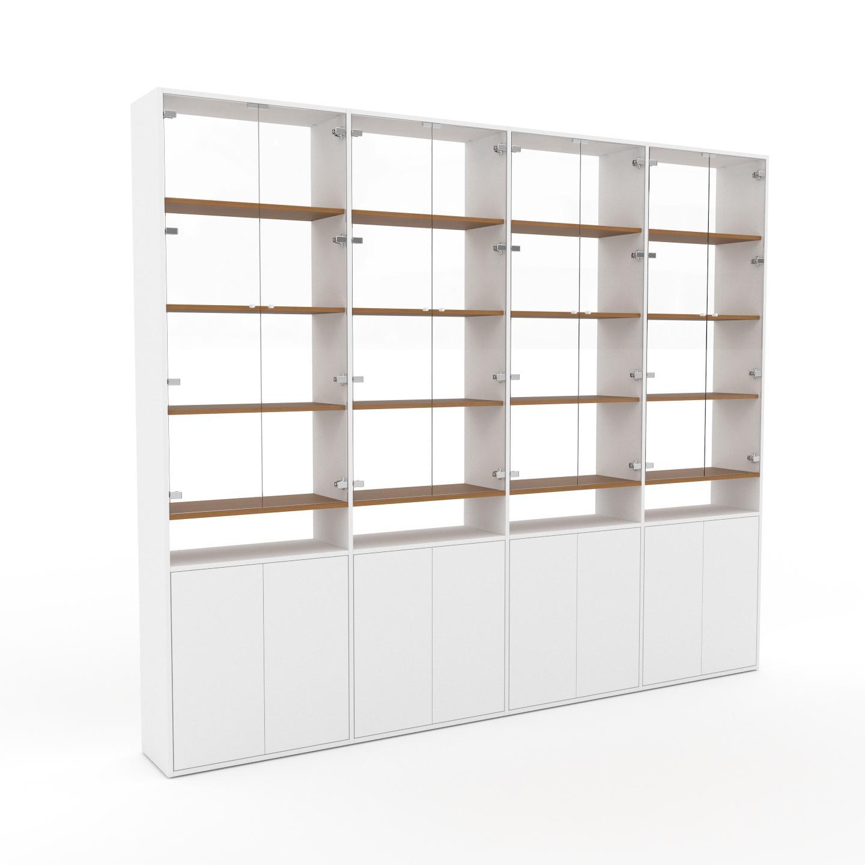 MYCS Vitrine - Verre clair transparent, moderne, pour documents, avec porte Blanc - 301 x 253 x 35 cm, personnalisable