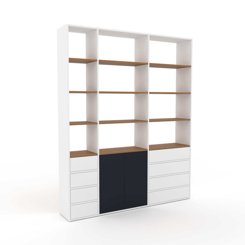 MYCS Placard - Blanc, moderne, rangements, avec porte Anthracite et tiroir Blanc - 190 x 233 x 35 cm