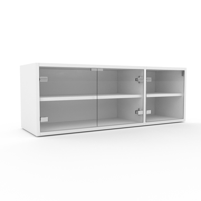 MYCS Vitrine - Verre clair transparent, moderne, pour documents, avec porte Verre clair transparent - 116 x 41 x 35 cm, personnalisable