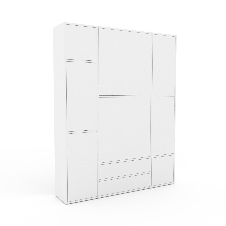 MYCS Placard - Blanc, moderne, rangements, avec porte Blanc et tiroir Blanc - 154 x 195 x 35 cm