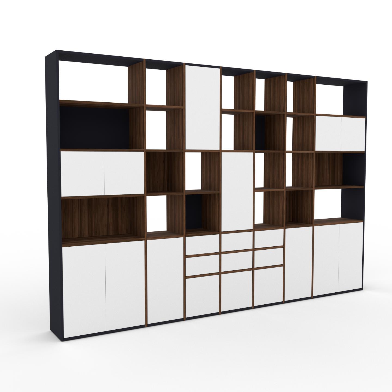MYCS Placard - Noyer, moderne, rangements, avec porte Blanc et tiroir Blanc - 344 x 233 x 35 cm