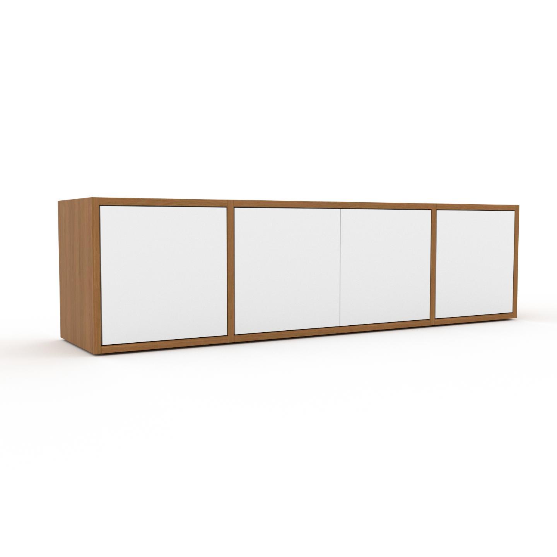 MYCS Placard - Chêne, contemporain, rangements, avec porte Blanc - 154 x 41 x 35 cm, modulable