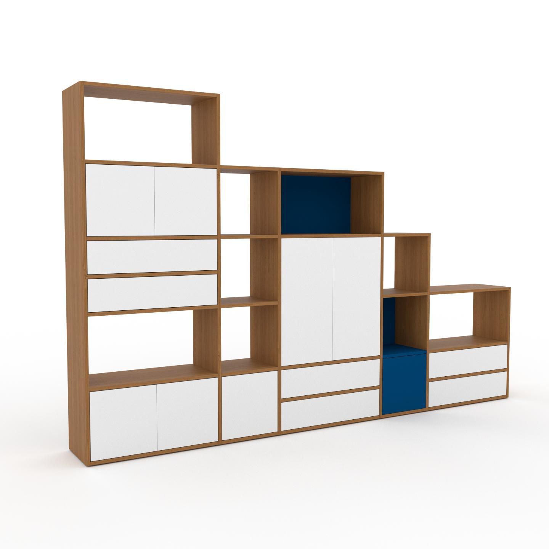 MYCS Placard - Chêne, moderne, rangements, avec porte Blanc et tiroir Blanc - 303 x 195 x 35 cm