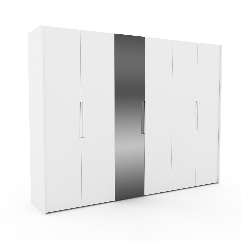 MYCS Dressing - Blanc/Miroir, design, armoire penderie pour chambre ou entrée, à portes battantes - 304 x 233 x 62 cm, modulable