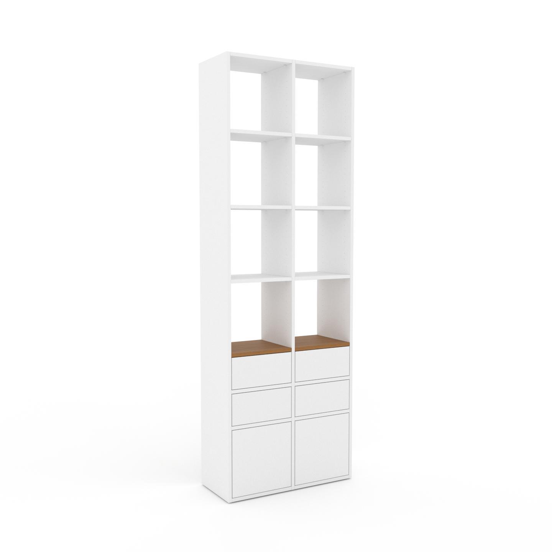 MYCS Placard - Blanc, moderne, rangements, avec porte Blanc et tiroir Blanc - 79 x 233 x 35 cm
