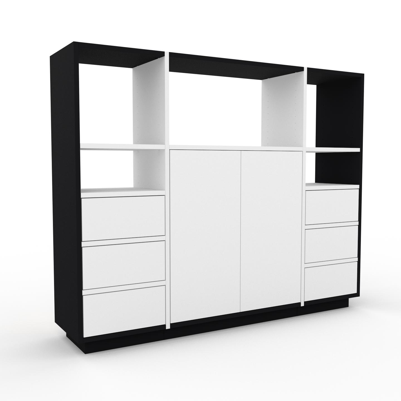 MYCS Placard - Noir, moderne, rangements, avec porte Blanc et tiroir Blanc - 154 x 124 x 35 cm