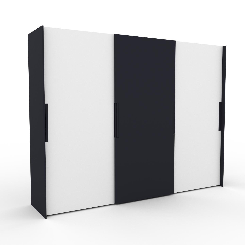 MYCS Dressing - Blanc/Anthracite, design, armoire penderie pour chambre ou entrée, haut de gamme, avec portes coulissantes - 304 x 233 x 65 cm, modulable