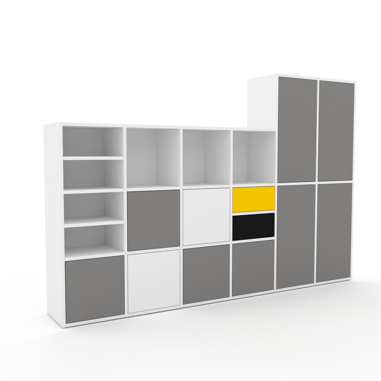 MYCS Placard - Blanc, moderne, rangements, avec porte Gris et tiroir Noir - 233 x 157 x 35 cm