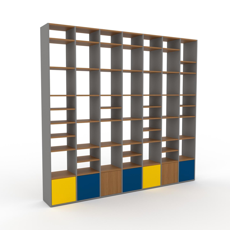 MYCS Placard - Gris, contemporain, rangements, avec porte Bleu - 272 x 253 x 35 cm, modulable