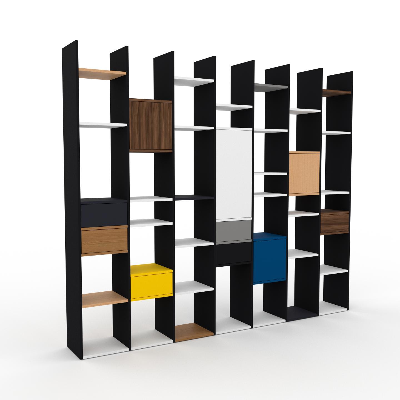 MYCS Placard - Noir, moderne, rangements, avec porte Noyer et tiroir Anthracite - 272 x 233 x 35 cm