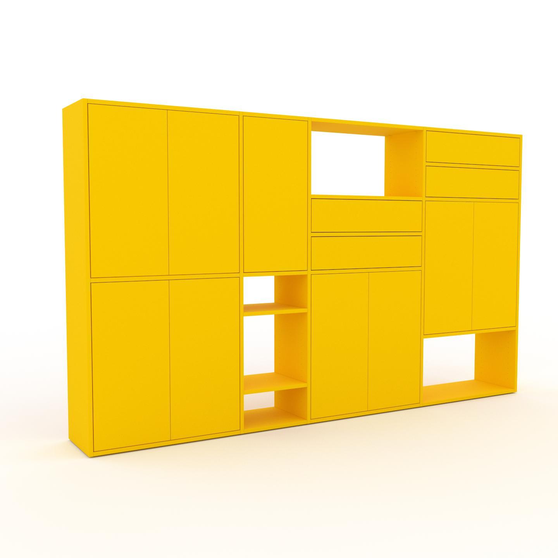 MYCS Placard - Jaune, moderne, rangements, avec porte Jaune et tiroir Jaune - 265 x 157 x 35 cm
