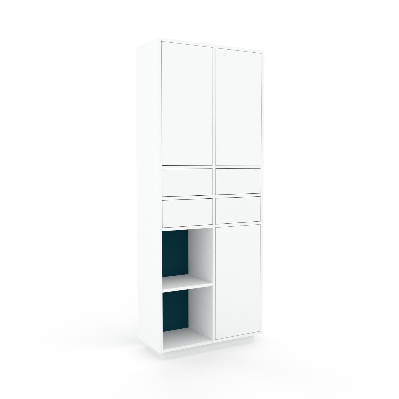 MYCS Placard - Blanc, moderne, rangements, avec porte Blanc et tiroir Blanc - 79 x 200 x 35 cm