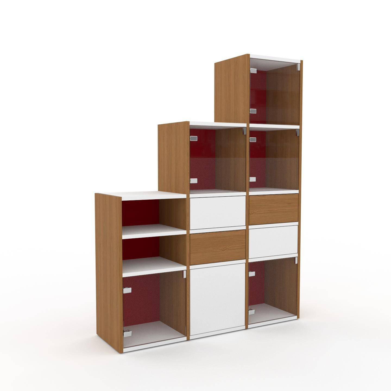 MYCS Vitrine - Verre clair transparent, design, pour documents, avec porte Verre clair transparent et tiroir Chêne - 118 x 157 x 35 cm