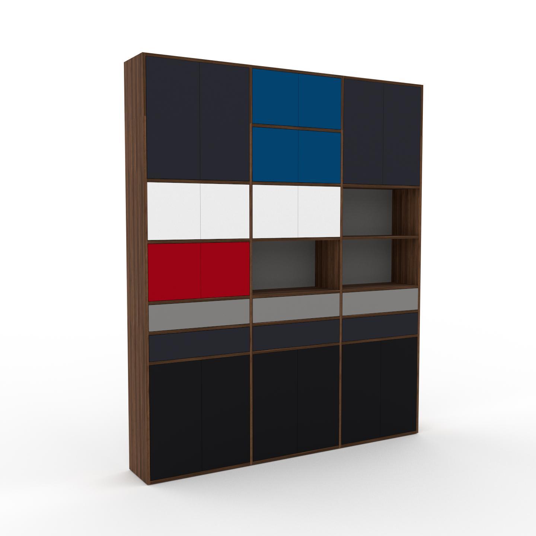 MYCS Placard - Noyer, moderne, rangements, avec porte Noir et tiroir Gris - 226 x 272 x 35 cm
