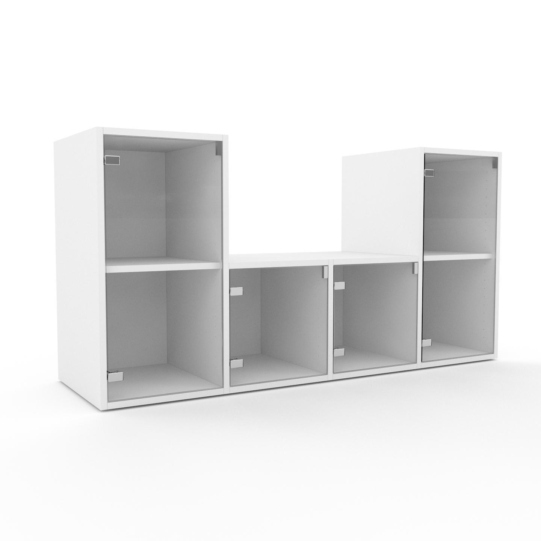 MYCS Vitrine - Verre clair transparent, moderne, pour documents, avec porte Verre clair transparent - 156 x 80 x 47 cm, personnalisable