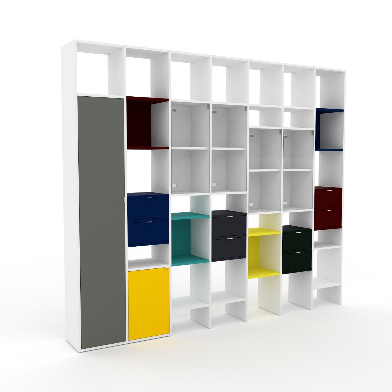 MYCS Vitrine - Verre clair transparent, design, pour documents, avec porte Verre clair transparent et tiroir Bleu nuit - 272 x 233 x 35 cm