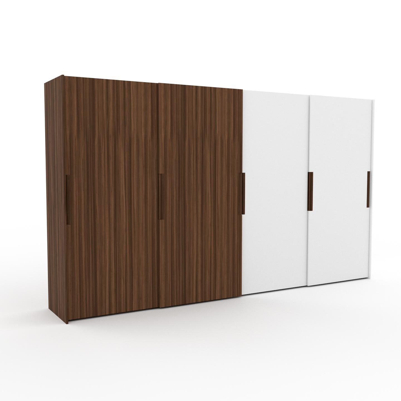 MYCS Dressing - Noyer/Blanc, design, armoire penderie pour chambre ou entrée, haut de gamme, avec portes coulissantes - 404 x 233 x 65 cm, modulable