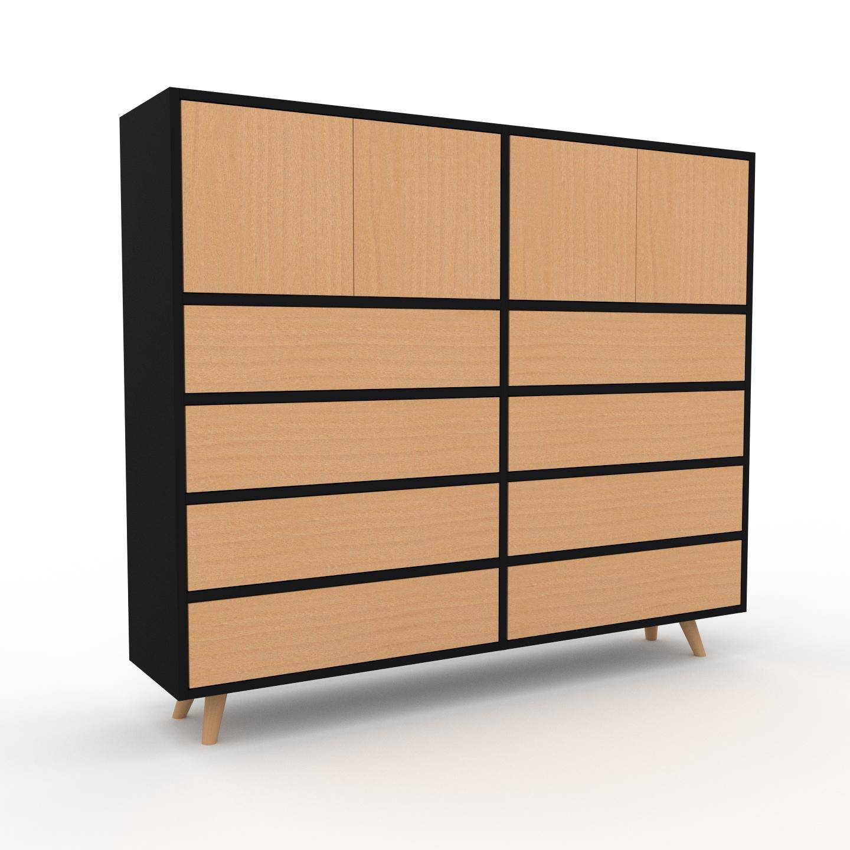 MYCS Placard - Noir, moderne, rangements, avec porte Hêtre et tiroir Hêtre - 152 x 130 x 35 cm