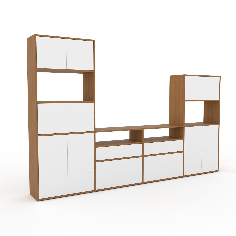 MYCS Placard - Chêne, moderne, rangements, avec porte Blanc et tiroir Blanc - 301 x 195 x 35 cm