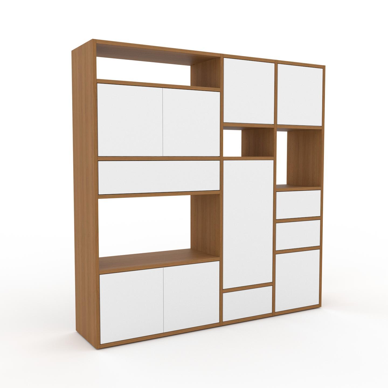 MYCS Placard - Chêne, moderne, rangements, avec porte Blanc et tiroir Blanc - 154 x 157 x 35 cm