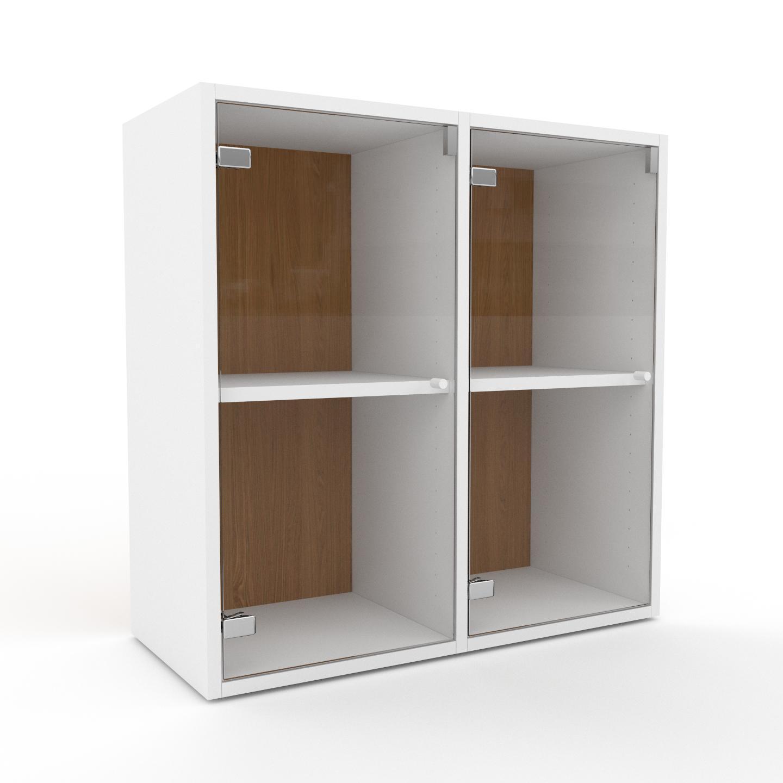 MYCS Vitrine - Verre clair transparent, moderne, pour documents, avec porte Verre clair transparent - 79 x 80 x 35 cm, personnalisable